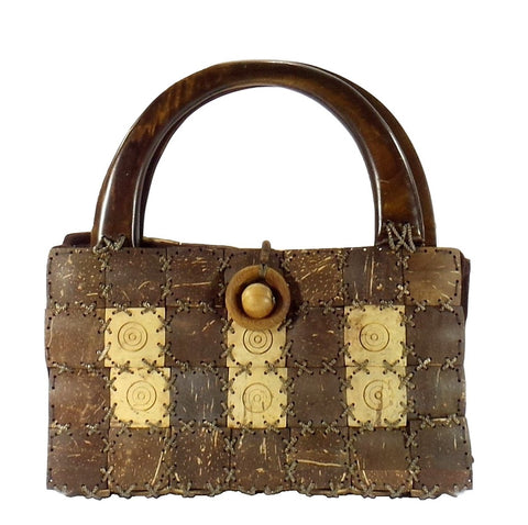 Coconut Shell Purse with Brown Wooden Handles