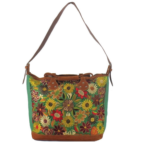 Green Embroidered Tote