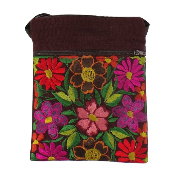 Brown Embroidered Passport Bag (EA32)