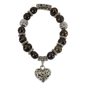 Brown Freshwater Pearl Heart Bracelet (BS020F)