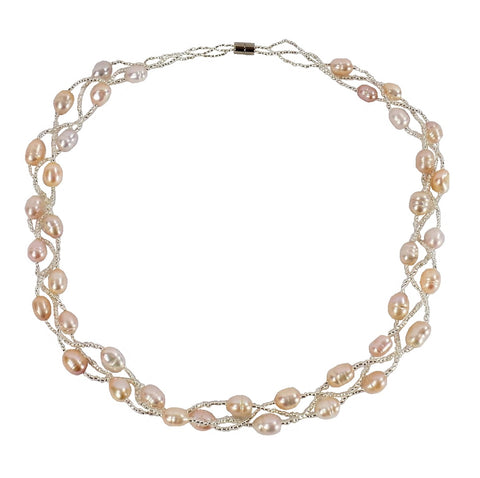 Multi Pink Freshwater Pearl Necklace (F022)