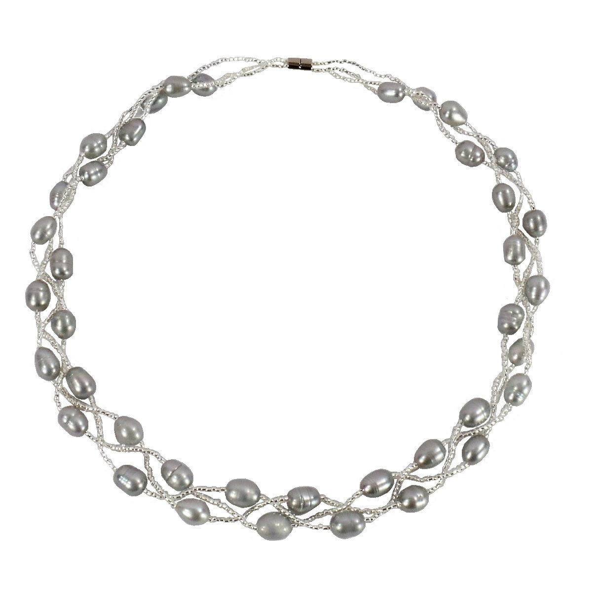 Silver Grey Freshwater Pearl Necklace (F073)
