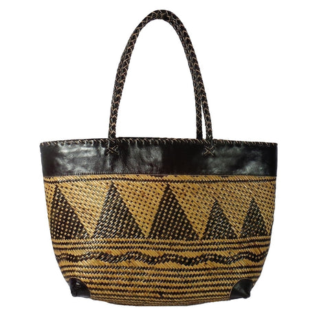 Large Triangle Pattern Rattan Tote