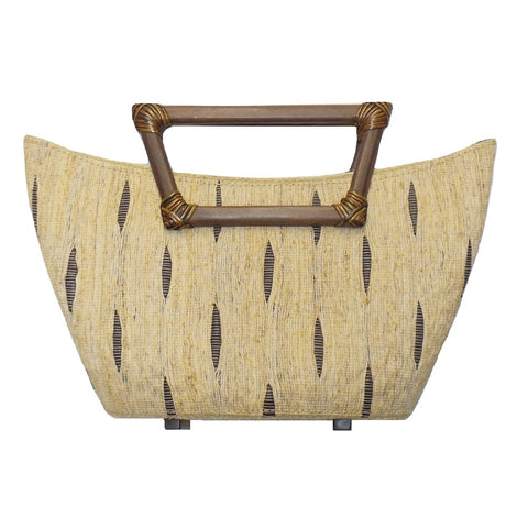 Tan and Black Rosewood Large Hand Loomed Vetiver Purse (A8H2-CR)