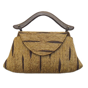 Small Brown and Chocolate Rosewood Hand Loomed Vetiver Purse (A5H-BN)