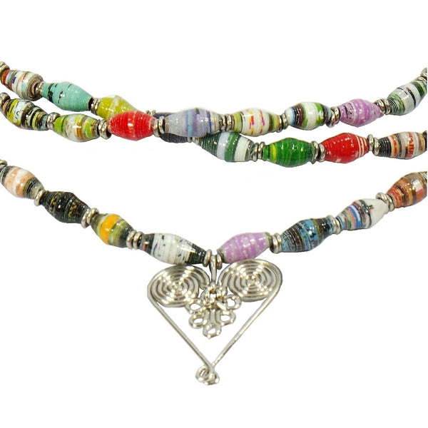 3 Strand Healing Hearts Statement Necklace (HRT-3N)