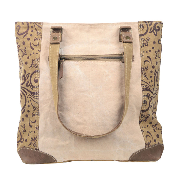 Vintage Flower with Large Front Pocket Canvas Tote (55540)