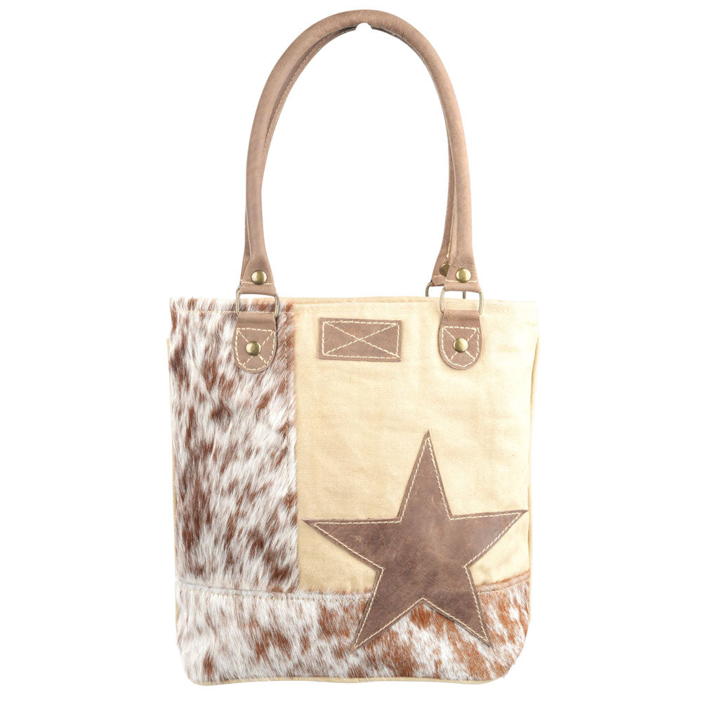 Star with Cowhide Canvas Tote (55542)
