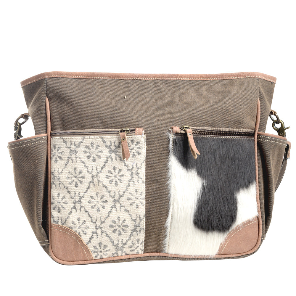 Canvas Patterned Cowhide Crossbody (55572)