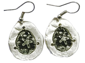Antique Silver Engraved Sand Dollar Earrings