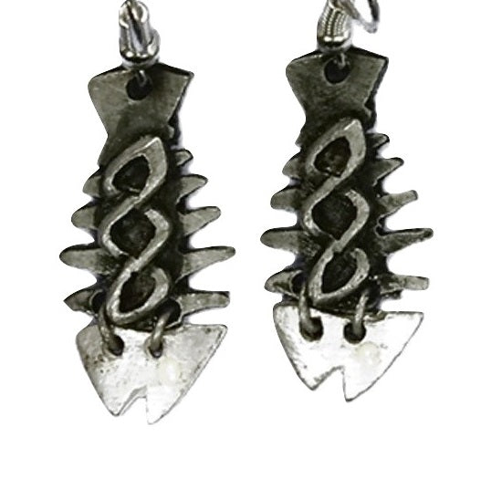 Antique Silver Fishbone Earrings (E685 S-AS)