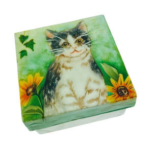 Kitten with Flower Small Flower Trinket Box (1572B)