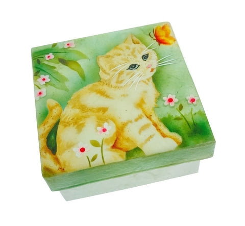 Kitten and Butterfly Small Trinket Box (1572C)