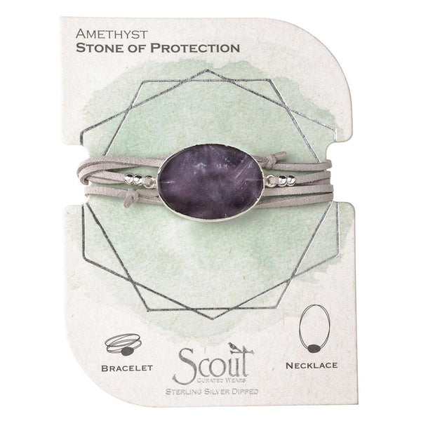 Suede/Stone Wrap - Amethyst/Silver/Stone of Protection (SL007)