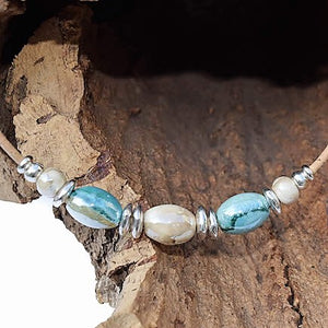 Aqua and Pearl Ceramic Beaded Necklace (N59)