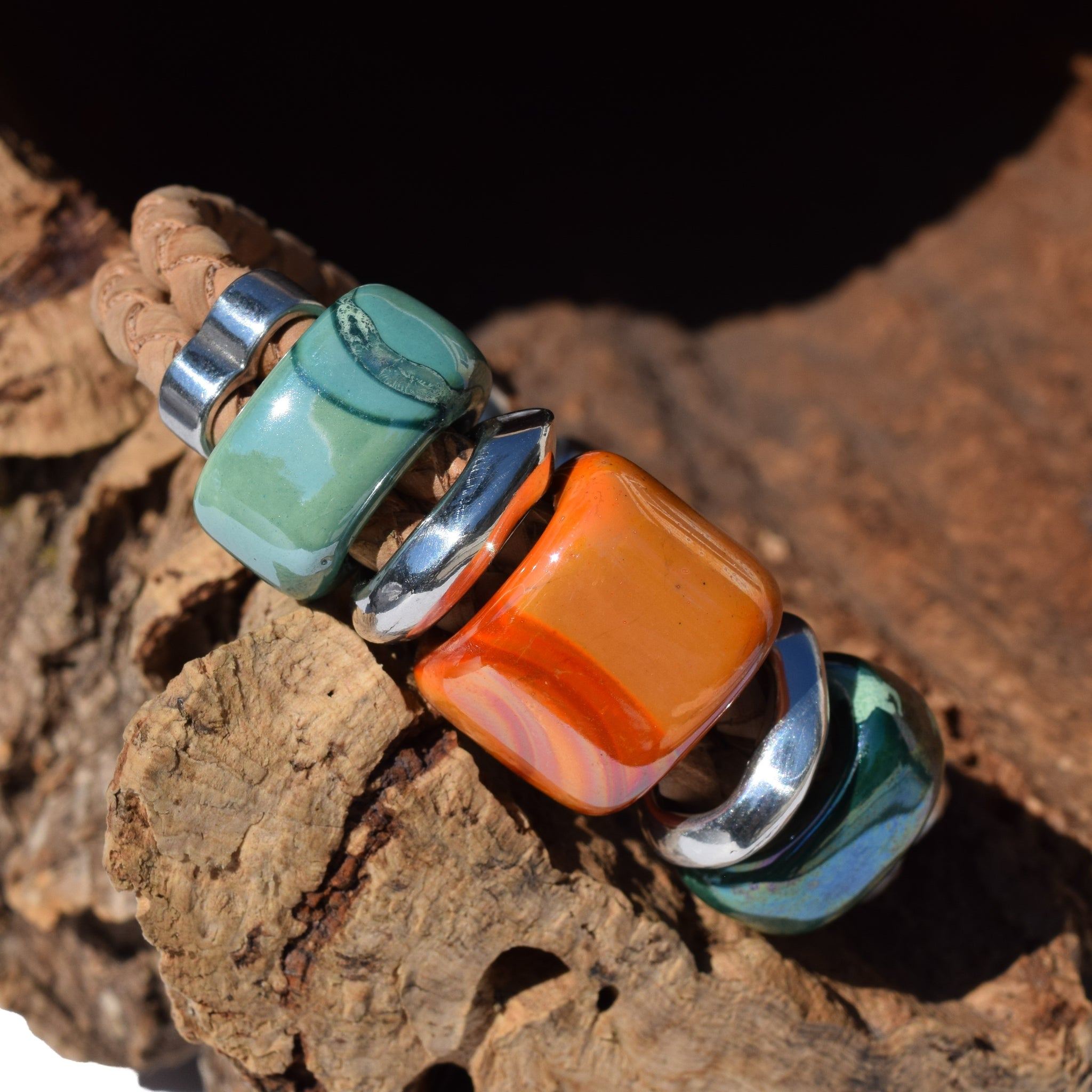 Green and Orange Ceramic Cork Bracelet (B59)