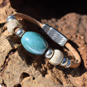 Aqua and Pearl Ceramic Cork Bracelet (B79)