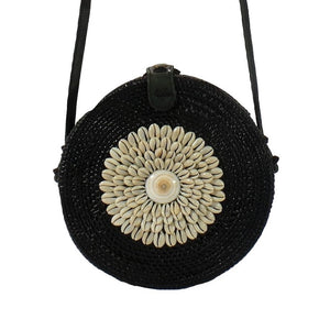 Round Ata Bag with Shells