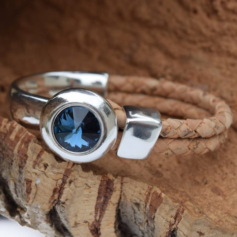 Swarovski Blue Denim Crystal Circle Bracelet (B20-2)