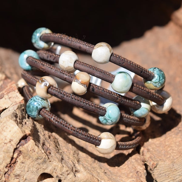 5 Strand Ceramic Beaded Layered Cork Bracelet-Multiple Colors (B98)