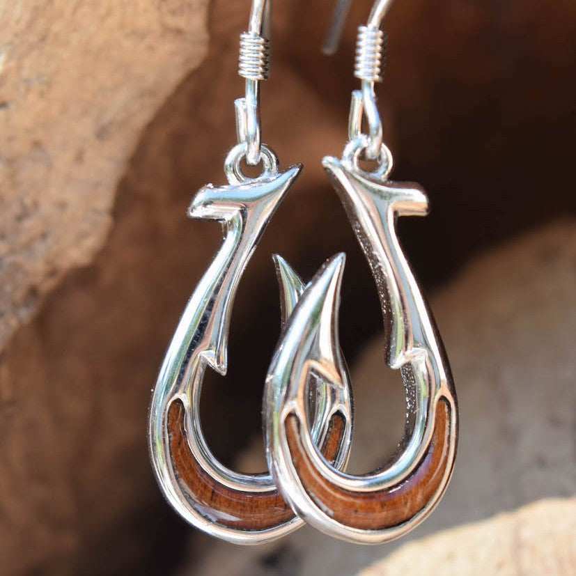 Sterling Silver Fish Hook Tale KOA Tree Cork Earrings (E23)