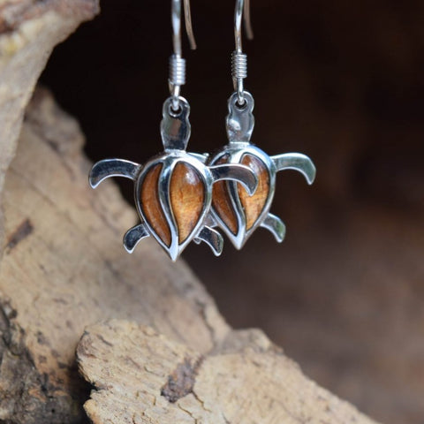 Sterling Silver Turtle KOA Tree Cork Earrings (E25)