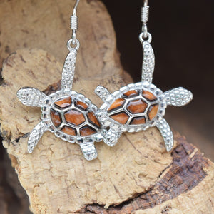 Sterling Silver Turtle KOA Tree Cork Earrings (E31)