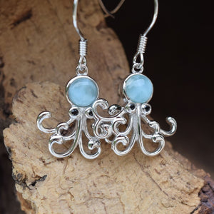 Octopus Larimar Earrings (E32)
