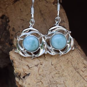 Circular Dolphin Larimar Earrings (E33)
