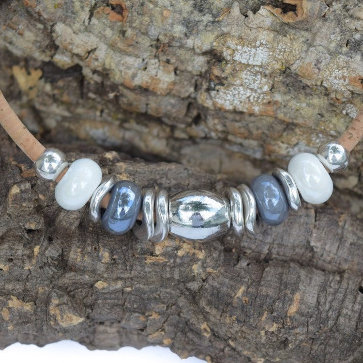 Grey & White Porcelain Beaded Necklace (N22G)