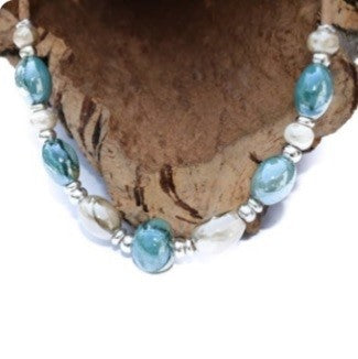 Grecian Ceramic Beaded Cork Necklace (N56)