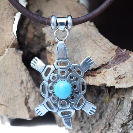 Sterling Silver and Turquoise Turtle Necklace (N74-1)