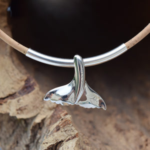 Sterling Silver Whale Tail Necklace (N92)