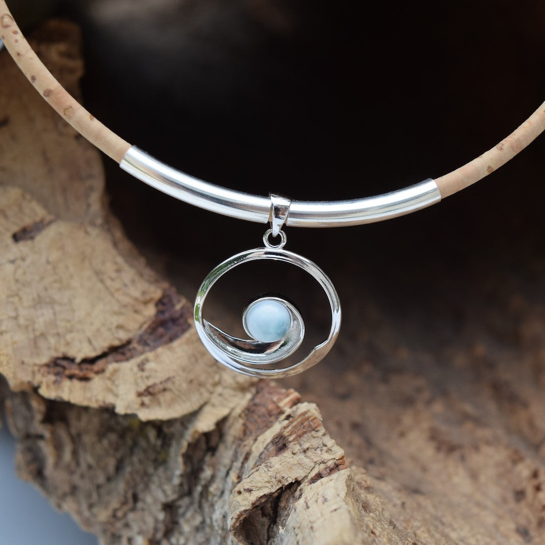 Sterling Silver with Larimar Wave Necklace (N93)