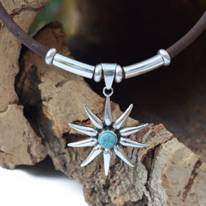 Starburst Turquoise and Sterling Silver Necklace (N40)