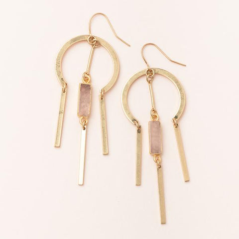 Dream Catcher Stone Earring - Rose Quartz/Gold (EA003)