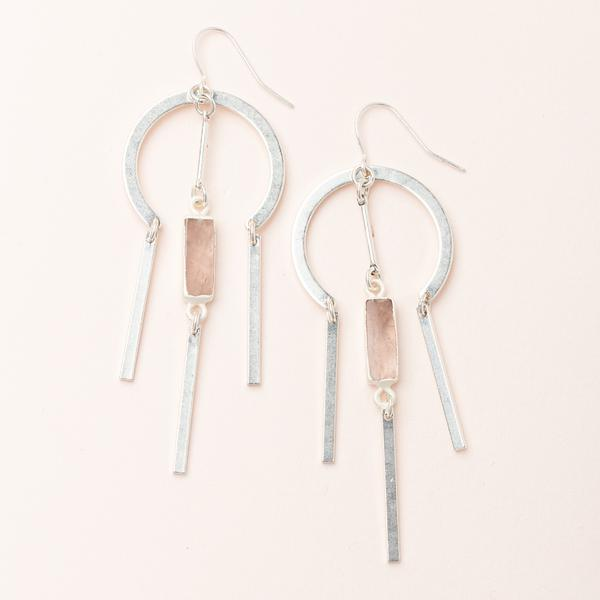 Dream Catcher Stone Earring - Rose Quartz/Silver (EA004)