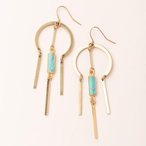 Dream Catcher Stone Earring - Turquoise/Gold (EA005)