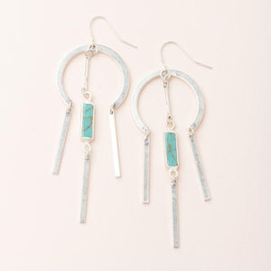Dream Catcher Stone Earring - Turquoise/Silver (EA006)