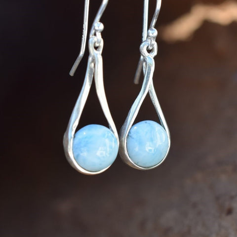 Tear Drop Larimar Earrings (E11)