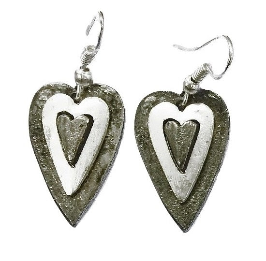 Antique Silver Heart Earrings