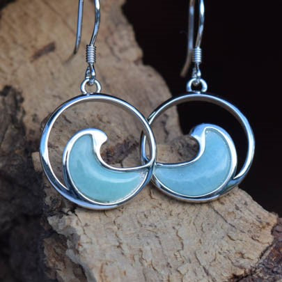 Wave Larimar Earrings (E18)