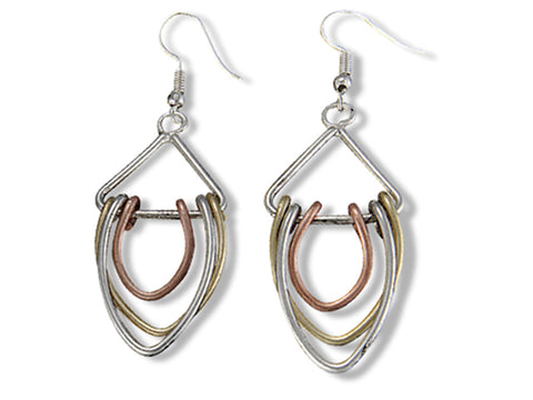 Tri-Metal Drop Earrings (E3125)