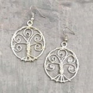 Silver Tree of Life Earrings (E413)