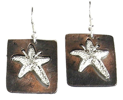 Antique Copper Sassy Starfish Earrings (E677 S-AC)