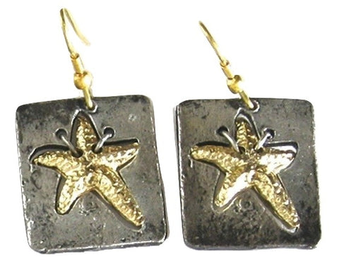 Antique Silver Sassy Starfish Earrings (E677 B-AS)