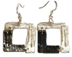 Antique Silver Two-Tone Square Earrings (E869 S-AS)