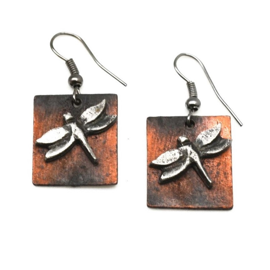 Antique Copper Dragonfly Earrings (E962 AS-AC)