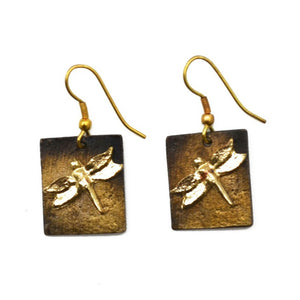Antique Brass Dragonfly Earrings (E962 B-AB)
