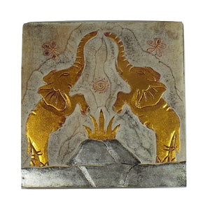 Wall Plaque-2 Elephants
